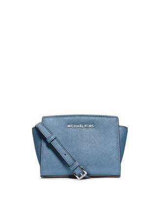MICHAEL Michael Kors Selma Mini Saffiano Messenger Bag, Sky $178 thestylecure.com