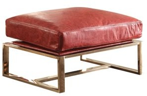 ACME Furniture ACME Quinto Ottoman, Antique Red Top Grain Leather & Stainless Steel