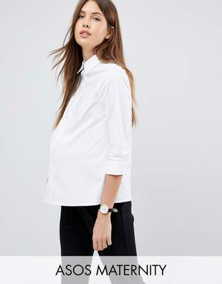 Asos DESIGN Maternity 3/4 sleeve shirt in stretch cotton