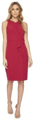 Adrianna Papell Stretch Crepe V-Neck Sheath Dress Women's Dress
