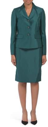 Three Button Jacket Skirt Suit Set