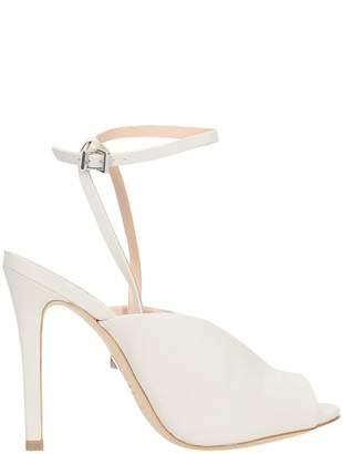 Schutz White Pearl Leather Sandals