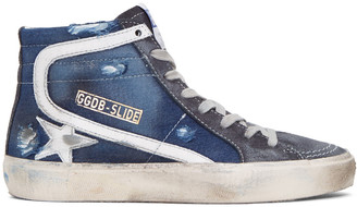 Golden Goose Navy Slide High-Top Sneakers $530 thestylecure.com