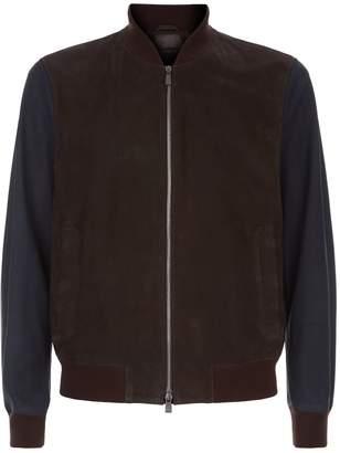 Corneliani Suede Contrasting Bomber Jacket