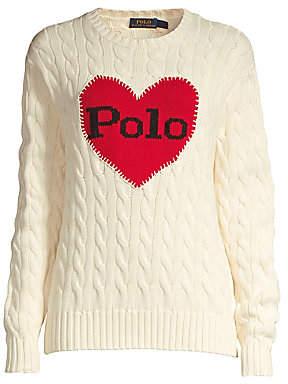 Polo Ralph Lauren Women's Heart Cable-Knit Cotton Sweater