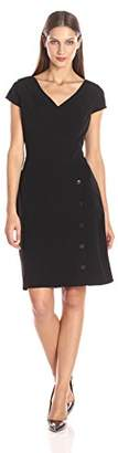 Julia Jordan Women's Cap Sleeve V Neck Side Button Stretch Crepe Sheath Dress $84.94 thestylecure.com