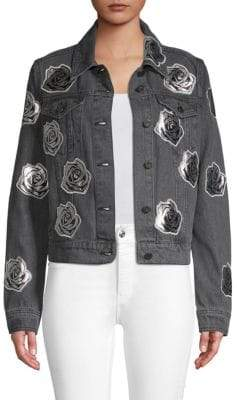 Bagatelle Rose Appliqué Denim Jacket