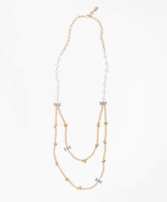 Brooks Brothers Glass Pearl and Rhinestone Bow and Long Necklace