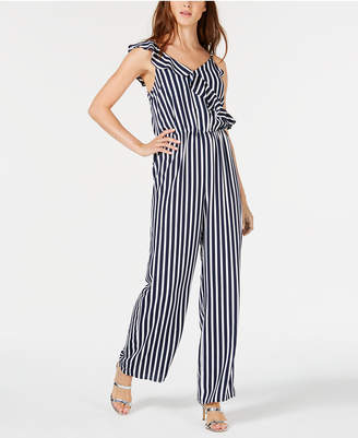 Bar III Striped Ruffle Jumpsuit, Created for Macy's