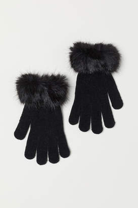 H&M Gloves with Faux Fur Trim - Black