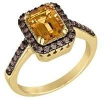 LeVian Chocolate Diamond, Cinnamon Citrine and 14K Yellow Gold Ring