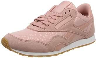 24df570309e Reebok Women s s Classic Nylon Slim Text Lux Trainers Chalk Pink White Gum 0
