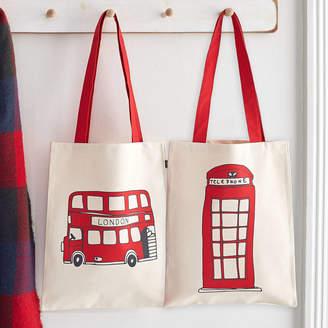 Victoria Eggs Telephone Box And London Bus Canvas Bag