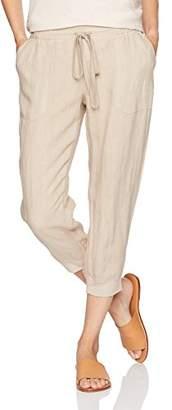Three Dots Women's Woven Linen Cropped Jogger