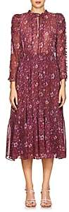 Ulla Johnson Women's Izar Floral Silk Tieneck Maxi Dress - Purple