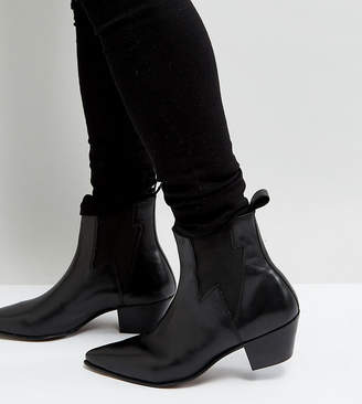 Asos Design DESIGN Wide Fit cuban heel western boots in black leather with lightening detail