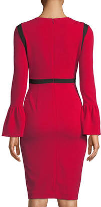 Iconic American Designer Bell-Sleeve Contrast-Trim Sheath Dress