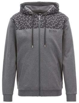 BOSS Hugo Regular-fit loungewear jacket Anni Albers-inspired print M Grey