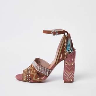 River Island Womens Brown aztec print block heel sandals