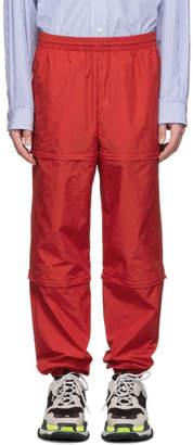 Balenciaga Red Nylon Zipped Lounge Pants