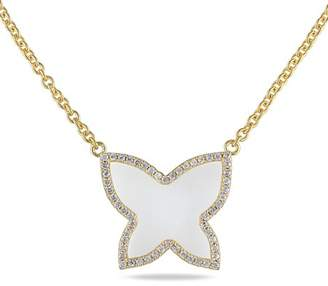 """Miabella 3-2/5 Carat T.G.W. White Onyx and CZ Yellow Rhodium-Plated Sterling Silver Star Necklace, 18"""""""