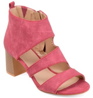 Brinley Co. Women's Side-zip Faux Leather Stacked Heel Open-toe Sandals