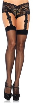 Leg Avenue Women's Sheer Stockings with Attached Lace Garter Panty, Black, One Size