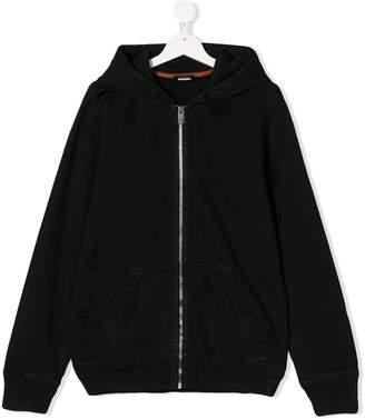 Diesel distressed zipped hoodie