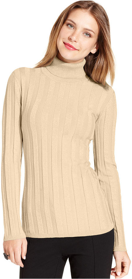 Style&Co. Sweater, Long-Sleeve Metallic Ribbed Turtleneck