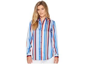 Lauren Ralph Lauren Satin Striped Woven Shirt Women's T Shirt
