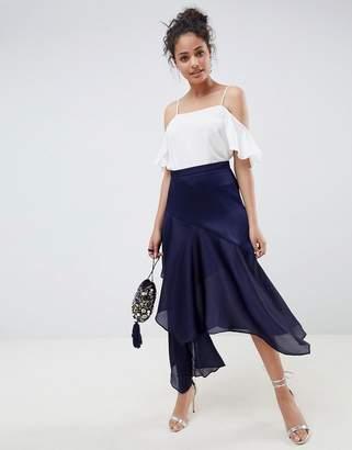 Asos (エイソス) - ASOS DESIGN satin tiered asymmetric hem midi skirt