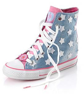 "Daddys Money Daddy's Money ""Starry Skies"" Wedge Sneaker - Denim/Pink"