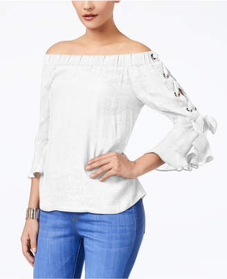 Thalia Sodi Off-The-Shoulder Gauze Lace-Up Top, Created for Macy's