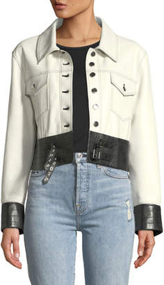 Moto Nour Hammour Button-Front Leather Jacket with Buckle-Hem