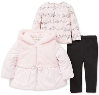 Little Me Baby Girls 3-Pc. Faux-Fur Jacket, Printed T-Shirt & Pants Set