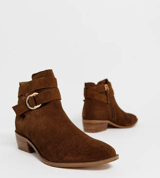 Simply Be Extra Wide Fit Simply Be extra wide Dina ankle boots with buckle detail in brown suede