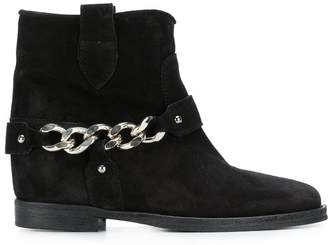 Via Roma Chain embellished ankle boots