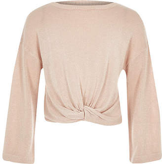 River Island Girls pink knot front long sleeve top