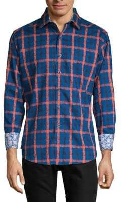 Robert Graham Dadebrook Paisley-Plaid Button-Down Shirt