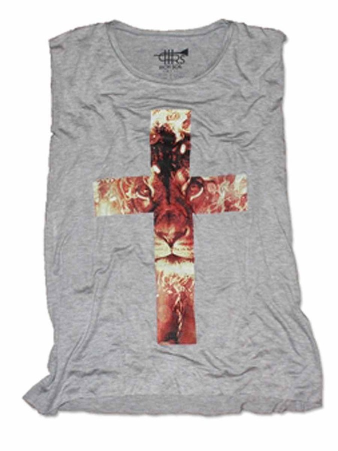 Rich Soil Lion Cross Tee In Heather Grey As Seen On Khloe Kardashian