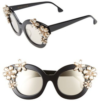 Women's Alice + Olivia Madison Floral 46Mm Special Fit Embellished Cat Eye Sunglasses - Black $525 thestylecure.com