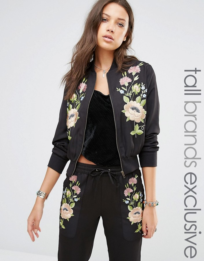 Glamorous Tall Floral Embroidered Bomber
