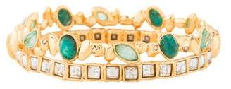 Alexis Bittar Chrysocolla, Amazonite & Crystal Rocky Hinged Bangle