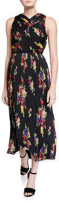Kate Spade Rare Roses Sleeveless Pleated Midi Dress