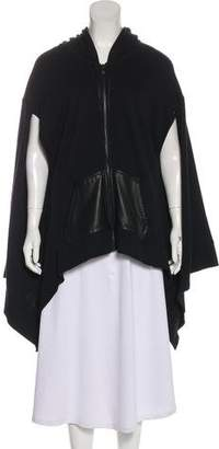 Alexander Wang Leather-Trimmed Sweatshirt Cape