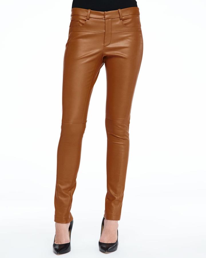Halston Skinny Lambskin Leather Pants