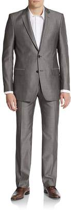 Versace Men's Regular-Fit Wool & Silk Sharkskin Suit