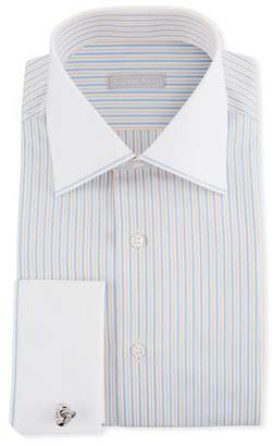 Stefano Ricci Men's Contrast Collar/Cuff Striped Dress Shirt