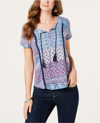 Style&Co. Style & Co Crochet-Seamed Printed Peasant Top
