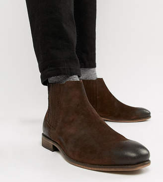Asos Design Wide Fit Chelsea Boots In Brown Suede With Natural Sole